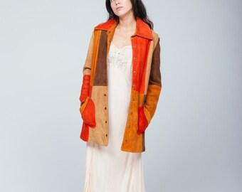 vintage patchwork suede jacket
