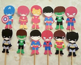 Superhero cupcake toppers - set of 12