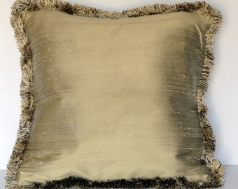 solid silk decorative throw pillow with fringe for sofa chair or couch handmade in usa