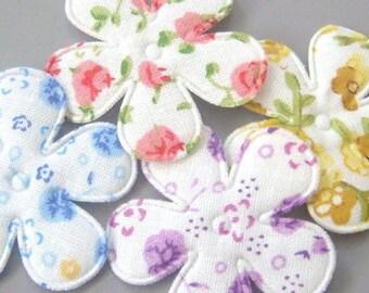 10 Assortment of Floral Design Padded Flower Appliques
