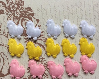 SET of 15 Padded Furry Felt Chicken Appliques for Easter/hair bow/ trim/ embellishments/scrapbooking