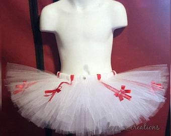 All white 'Candy Cane' tutu skirt!~baby tutu~Toddler tutu~All white tutu~customize yours~candy cane inspired~holiday tutu~Christmas