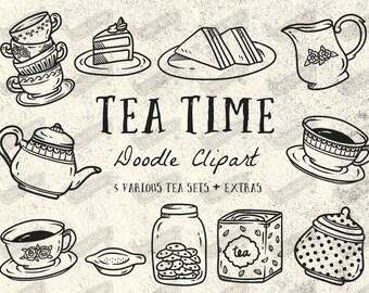 Doodle Tea Time Clipart