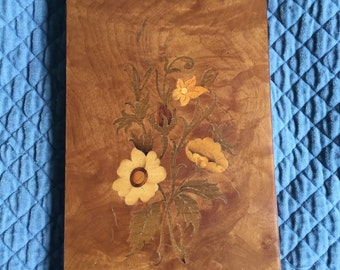 Vintage Inlay/Marquetry Wood Plaque