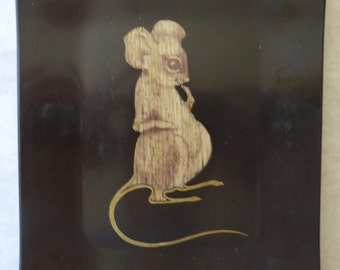 Vintage Couroc Mouse Tray with Wood and Brass Inlay