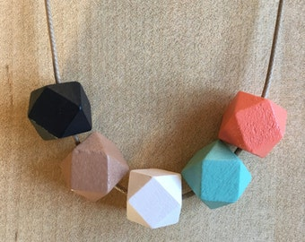 Wooden Geometric Necklaces