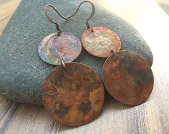 Hammered, textured, and torched round copper earrings