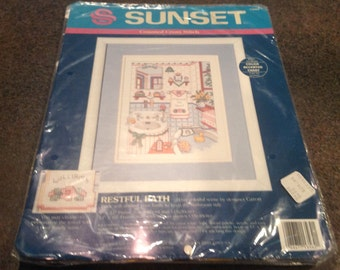 """Sunset Counted Cross Stitch 13562 Restful Bath Caron Turk Personalize Sealed  New 14 Count Aida 9 X 12 """""""