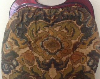 1960's Lucite and Tapestry Purse