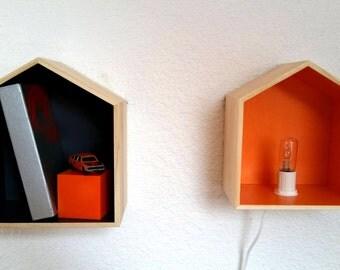 ON ORDER: All cabins, wooden shelf lamp bespoke to your colors.
