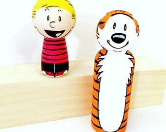 Calvin and Hobbes Wood Peg Doll Set