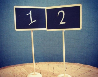Rectangle Chalkboard Wedding Table Number stand (Set of 10), vintage wedding accessories