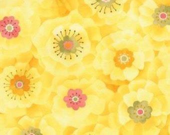 Sale Yellow Flowers > Lulu Full Blooms Sunshine 16113 13 < by Chez Moi from Moda > Fabric by the Yard