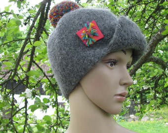 Felted wool CAP hat pom pom HAND MADE wool funny cap