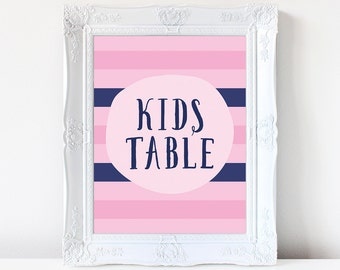 PRINTABLE Kids Table Sign, 8x10 and 5x7 Kids Table Wedding Reception Print, Pink & Navy Blue Striped Wedding Decor, INSTANT DOWNLOAD