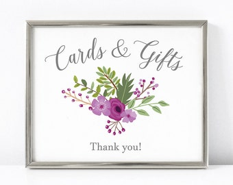 PRINTABLE Cards and Gifts Wedding Sign, Floral Wedding Reception Gift Table Digital Print, Purple Wedding Decor, INSTANT DOWNLOAD