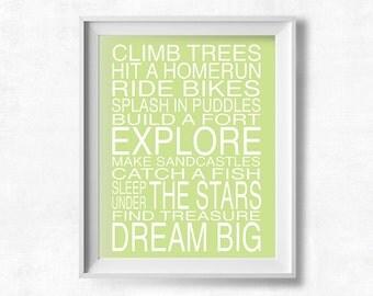 Dream Big, Subway Art, Boys Room Printable, Playroom Rules Sign, Explore Quote, Printable Art, Pistachio Green Nursery, Instant Download