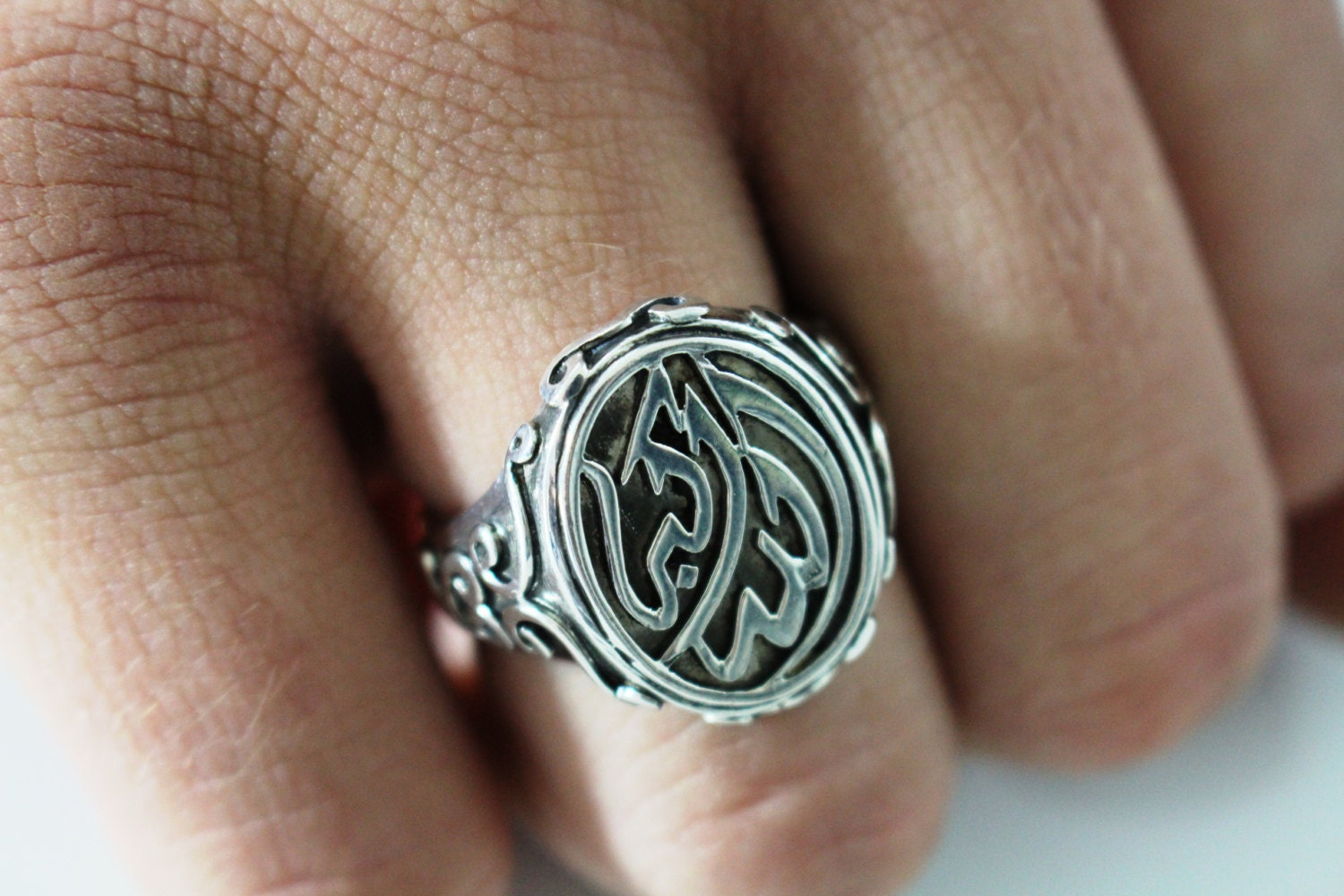 Islamic Jewelry Oxidized Unisex Ring Allahu By Bellatrendee