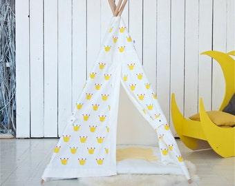Kids teepee, teepee, tipi, teepee tent, tipi tent, kids teepee tent, tipis, crown, gift daughter, gift for girl, gift for kids, baby gift