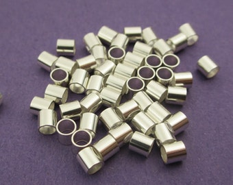 New 3mm x 3mm 925 Sterling Silver Crimp Tube 25pcs