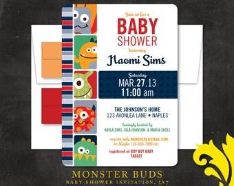MONSTER BUDS . baby shower invitation