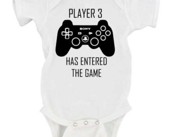 Baby Announcment Shirt - Player 3 has Entered the Game - Gamer Bodysuit