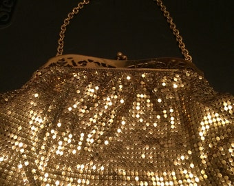 1950s gold &  shiny mesh Whiting and Davis company evening bag