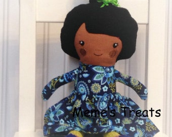Fabric Doll Rag Doll Dark Black Haired Girl in Blue Floral Dress