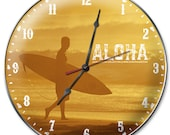 Aloha Surfing Wall Clock Of A Surfer Walking At Sunset On The North Shore Of Oahu In Hawaii - Photo By Surf Photographer Jack English