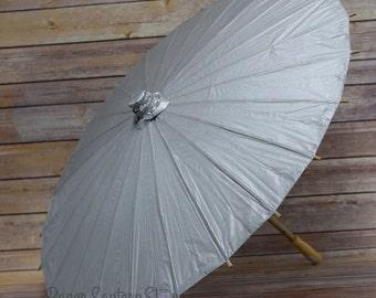"""28"""" Silver Paper Parasol Umbrella - 28PP-SV"""