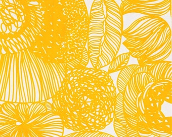 Marimekko fabric, yellow Kurjenpolvi 145 x 65cm, by Aino-Maija Metsola