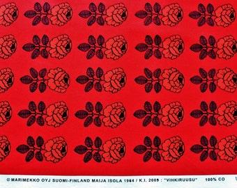 Marimekko fabric, red/red, Vihkiruusu 145x50cm by Maija Isola