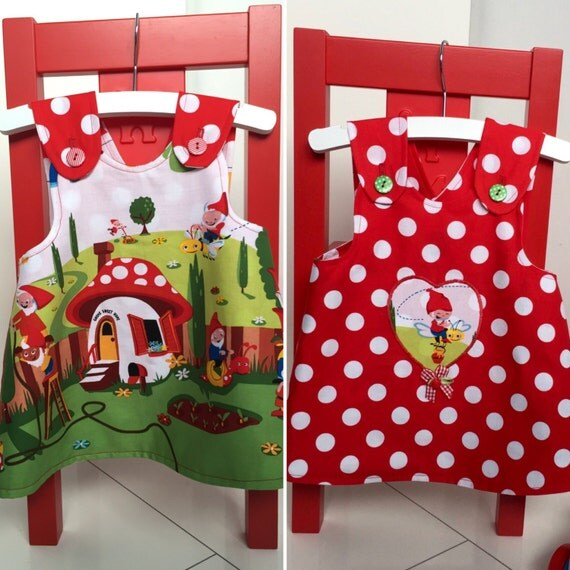 Double sided baby girl pinafore gnomes and red and white polka dots size 74 or 6-9 months