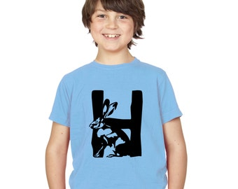Kids H is for Hare T-Shirt / Childrens Animal A-Z Alphabet T Shirt in Black, Grey, Pink, Yellow, Blue / Age: 3-4, 5-6, 7-8, 9-11, 12-13