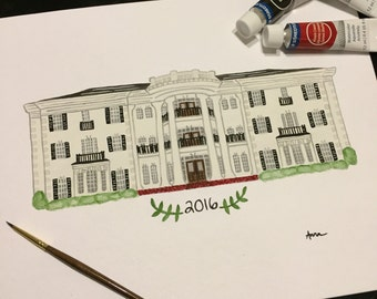 NEW Sorority House Watercolor Print