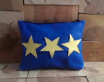 Blue Leather Clutch with Stars Carry