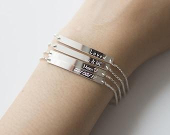 Sterling Silver Bar Bracelet, Engraved Bracelet, Personalized Bracelet, Custom name Bracelet,Monogram Bracelet,Initial Bracelet