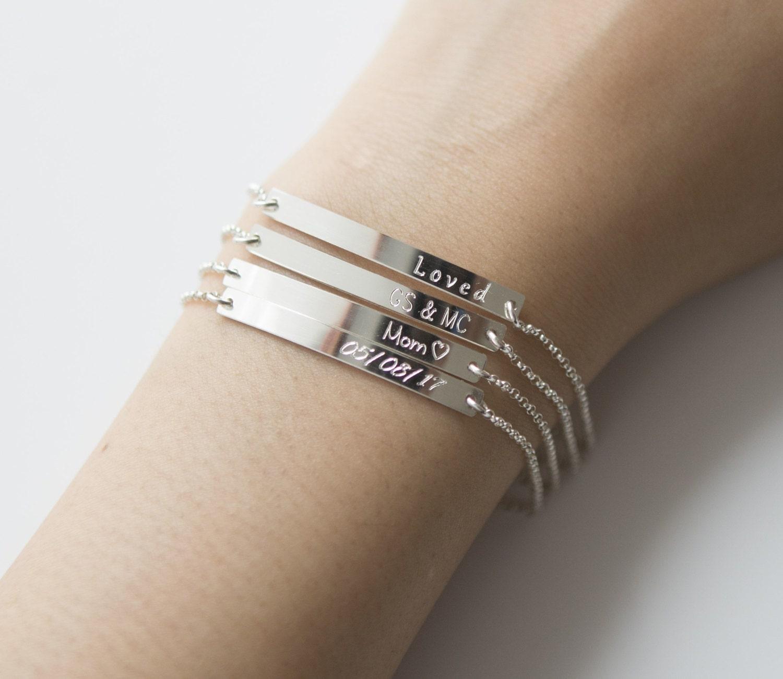 sterling silver bar bracelet engraved bracelet personalized. Black Bedroom Furniture Sets. Home Design Ideas