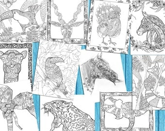 Adult Animal Coloring Book Digital - 45 Pages To Color