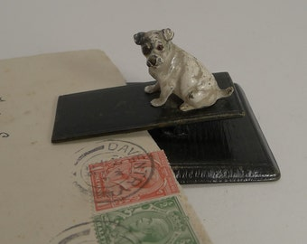 Antique Vienna Bronze Jack Russell / Dog Letter Clip c.1900