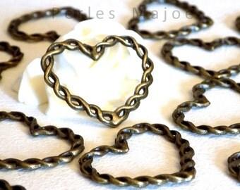 Lot de 2 anneaux tressés fermés forme coeur couleur bronze 33x28xmm