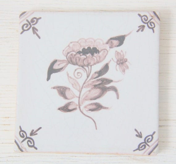Antique Dutch Square Flower Tile 19th Century, Made in Friesland