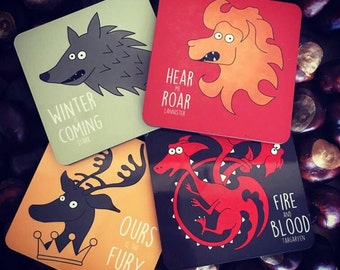 Game of Thrones Inspired Illustrated fun house Sigils Coaster set - Gifts