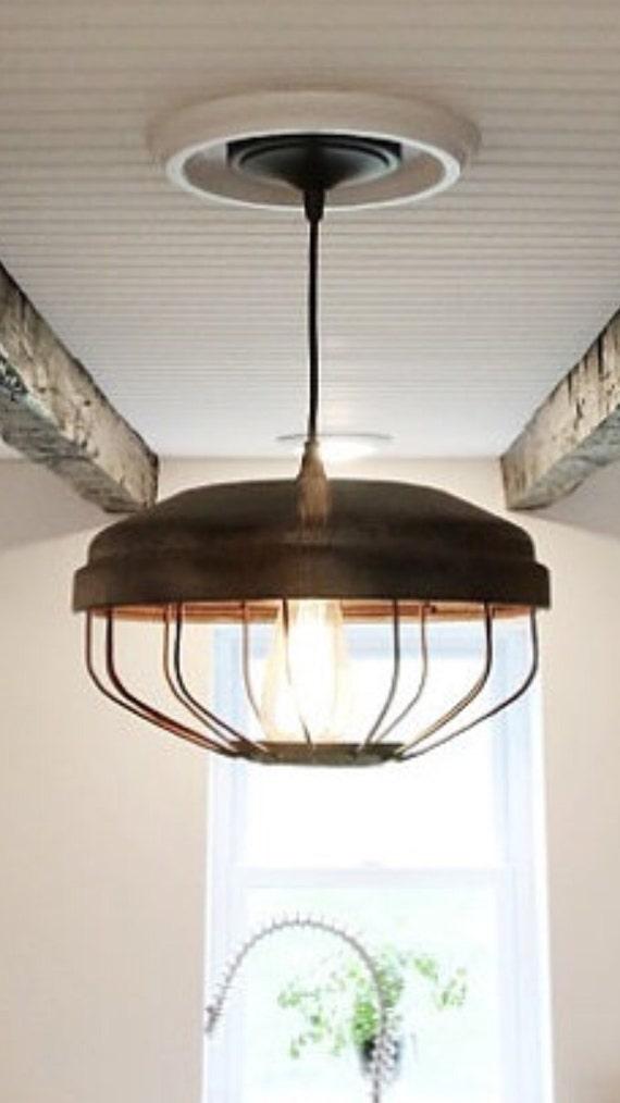 Ceiling light chicken feeder pendant by upscaleindustrial for Diy chicken feeder light