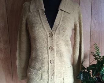 Vintage 1970's Sweater Girl Cardigan Tan Women's S