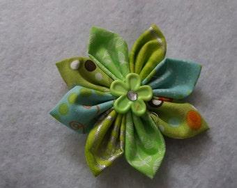 Green Fabric Flower Clip