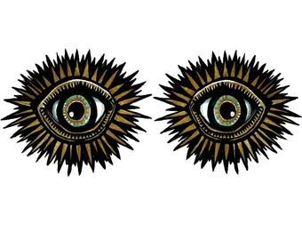 Twin THIRD EYE temporary tattoos pack - hand illustrated original designs