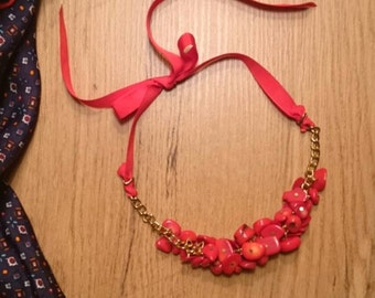 Statement necklace necklace of Red coral from gold-plated brass-
