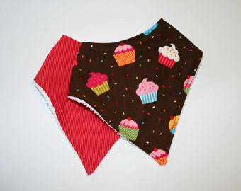 Bandana Bib, Baby Bib, Baby Girl Bib, Baby, Girl, Cupcake, Stripe, Pink, Brown, Terry Cloth