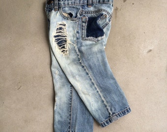 2T Toddler Boy Patched Jeans